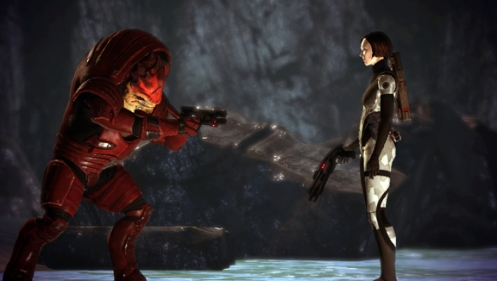 Wrex argues for the future of his race, and his life, with the player.